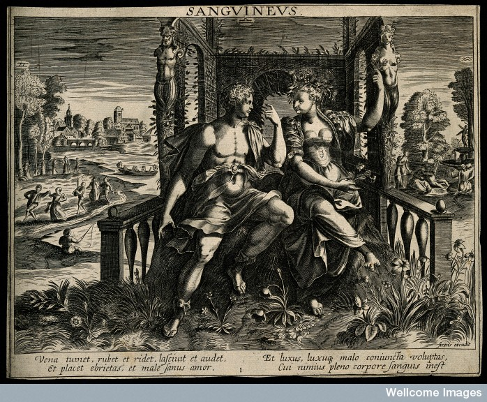 Engraving by Martin de Vos showing the 'Sanguine' temperament as a man woos a woman in a garden. 16th century. Courtesy of the Wellcome Library, London.