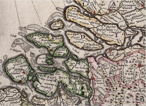 Goeree was a Northeasterly island of the Province of Zeeland, shown here on a cutout from a map of the Republic of the Seven United Netherlands (1664-1665), from the 'Grooten Atlas; oft, Werelt-beschryving; in welke 't aertryck de zee en de hemel wordt vertoont en beschreven' by Joan Blaeu. Middelburg is shown in red in the bottom left corner, Rotterdam and Dordrecht in the upper right. Courtesy of the National Maritime Museum in Amsterdam.