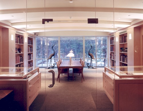 A view of the George J. Mitchell Department of Special Collections & Archives, Bowdoin College Library, Brunswick, Maine.
