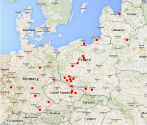Map of recipe origins by Agnieszka Rec via Googlemaps