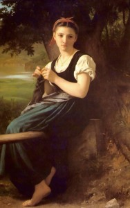 The Knitting Woman, William-Adolphe Bouguereau [Public domain], via Wikimedia Commons
