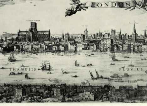 Detail from the panorama of London by Claes Visscher, 1616. Image courtesy of Wikipedia.