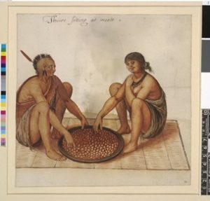 John White, White Indian man and woman eating; on rush mat, eating maize from a large round flat dish. Image Credit: British Museum.