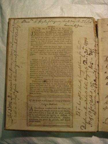 Newsprint in 18th C Manuscript Recipe Books