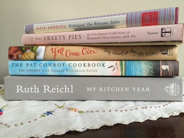 Bedside Reading: An incomplete collection of 21st century Literary Cookbooks. Credit to Carrie Helms Tippen.