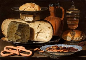 Clara Peeters, Still Life with Cheeses, Almonds and Pretzels, 1615. Image Credit: Wikimedia Commons.
