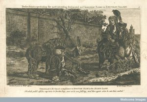 An episode in Tristram Shandy: Doctor Slop, having fallen off his horse, is greeted by Obadiah. Image credit: Wellcome Library, London.