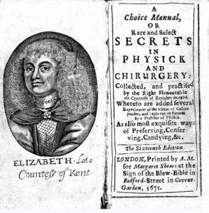 Elizabeth Grey, A Choice Manuall. Frontispiece of 1671 edition.