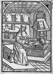 The herbal author at work. This is an image of Macer Floridus from an early printed edition of De viribus herbarum. Written around 1090, it became the most popular herbal of the later Middle Ages.