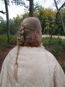 Reconstruction of hairstyle of the bogbody Elling Woman, found in Denmark. Photo by Chris Wenzel, licensed under the Creative Commons Attribution-Share Alike 3.0 Unported license. Source: Wikimedia.