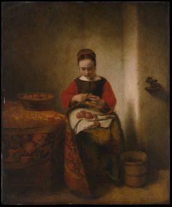 "Nicolaes Maes, ""Young Woman Peeling Apples,"" ca. 1655, The Metropolitan Museum of Art, Bequest of Benjamin Altman, 1913, http://www.metmuseum.org/art/collection/search/436934. Source: Metropolitan Museum of Art"