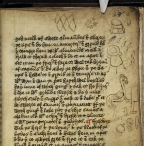 Harley 1735, fol. 25r contains sketches of several cooking implements and ingredients.. http://www.bl.uk/manuscripts/Viewer.aspx?ref=harley_ms_1735_f025r. (c)British Library Board Harley MS 1735