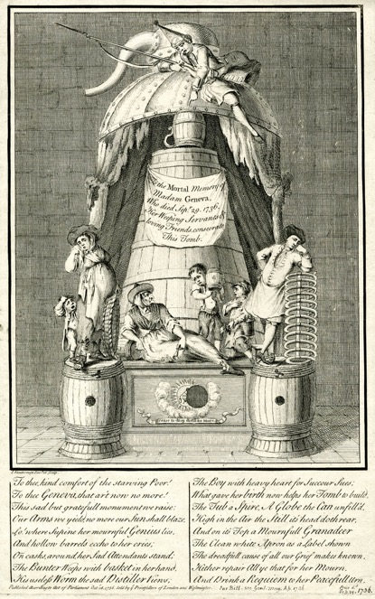 Print commemorating the death of Madam Geneva, 1736 ©Trustees of the British Museum.