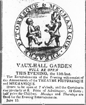 This newspaper advertisement promotes an evening's festivities at Charleston's Vaux Hall Garden. The garden, located in the center of Charleston at Queen and Broad Street, was opened by French immigrant Alexander Placide- also a dancer, acrobat, actor, tightrope walker, and theatre impresario. Image Credit: The Charleston City Gazette, June 13, 1808.