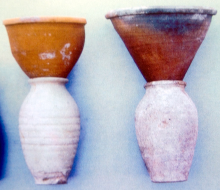 Figure 1. Medieval, cone-shaped earthenware devices for the refining of sugar from Cyprus. Courtesy of Bank of Cyprus Cultural Foundation.