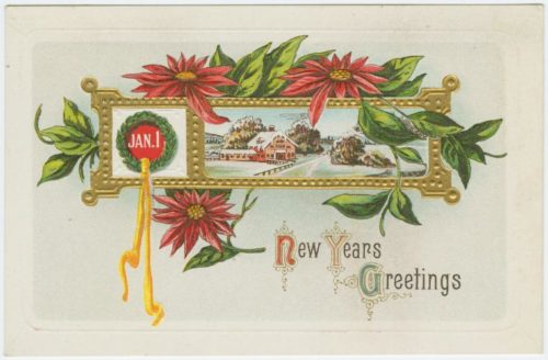 "Art and Picture Collection, The New York Public Library. ""New Years greetings."" New York Public Library Digital Collections. Accessed December 21, 2018. http://digitalcollections.nypl.org/items/510d47e3-47b5-a3d9-e040-e00a18064a99"