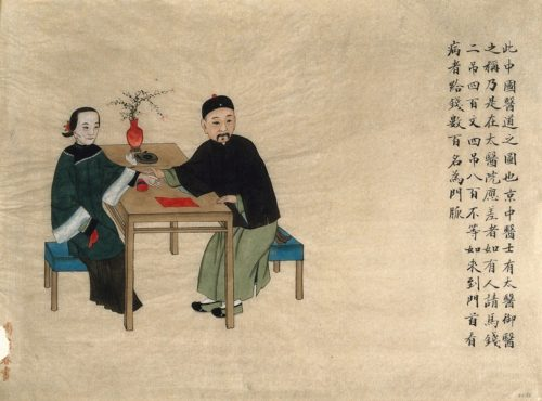 A doctor taking the pulse of a woman patient, seated at a table. Watercolour by Zhou Pei Qun, ca. 1890, courtesy of the Wellcome Collection.