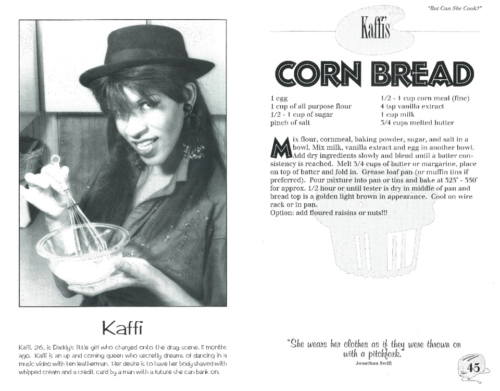 "Fig. 4. ""Kaffi's Corn Bread,"" from Christopher North, ""But Can She Cook?"" (Toronto: Bittersweet Press, 1993) 45. Photography by George Leet. Image courtesy of CLGA."