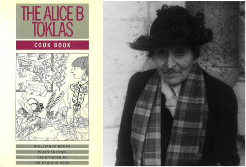 Fig. 5. Cover of The Alice B Toklas Cook Book (London: Brilliance Books, 1987) and Alice B. Toklas, photograph by Carl Van Vechten, 1949. Images courtesy of CLGA.