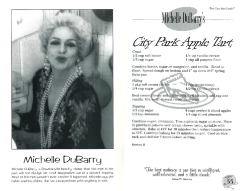 "Fig. 7. ""Michelle DuBarry's City Park Apple Tart,"" from Christopher North, ""But Can She Cook?"" (Toronto: Bittersweet Press, c. 1993) 53. Photography by George Leet. Image courtesy of CLGA."