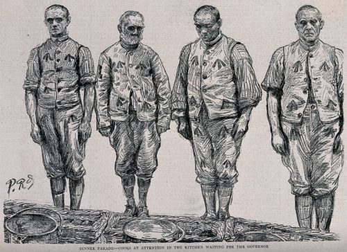 Four cooks in prison uniform standing in a line in front of buckets and baskets, at Wormwood Scrubs Prison, London. After P. Renouard, 1889. Image courtesy of Wellcome Collections.