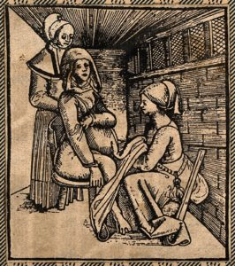 Fig. 2. A woman seated on a obstetrical chair giving birth aided by a midwife who works beneath her skirts. Woodcut. Courtesy of Wellcome Collection CC BY.