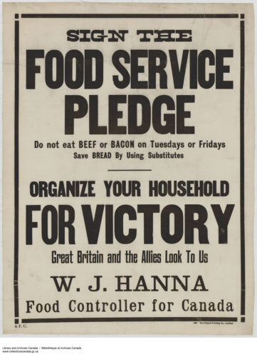"Fig. 3. ""Sign the Food Service Pledge,"" 1914-1918. Courtesy of Library and Archives Canada, Acc. No. 1983-28-719, MIKAN no. 3667246"