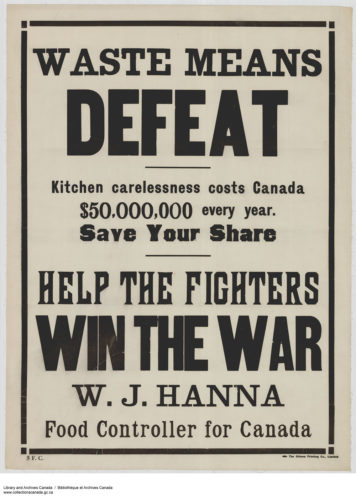 "Fig. 2. ""Waste Means Defeat,"" 1914-1918. Courtesy of Library and Archives Canada, Acc. No. 1983-28-710, MIKAN no. 3667237"