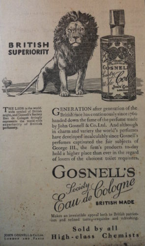 Fig. 3: Wartime advertisement for Gosnell's Society Eau de Cologne. Courtesy of John Gosnell & Co. Ltd., Lewes.