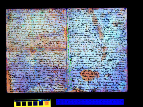 This is a processed spectral image of David Livingstone's 1870 Field Diary. The original manuscript page is held by the National Library of Scotland. This image is copyright National Library of Scotland and, as relevant, copyright Dr. Neil Imray Livingstone Wilson. The image has been released under a Creative Commons Attribution-NonCommercial 3.0 Unported license.
