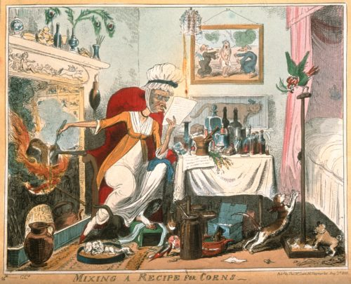"Fig. 2. ""Mixing a Recipe for Corns."" Etching by G. Cruikshank, 1819, after Captain F. Marryat. Courtesy of Wellcome Collection, CC BY"