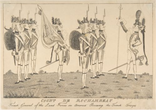 """Count de Rochambeau, French General of the Land Forces in America Reviewing the French Troops,"" Anonymous, British, 18th century, published by E. Hedges (London, 1781), Engraving. Gift of William H. Huntington, 1883, acc. no. 83.2.1039. Image Credit: Metropolitan Museum of Art."