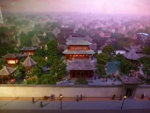 Maquette des Jardins Xu où se serait déroulée une des premières projection de film à Shanghai en 1896. Photo: A. Kerlan, 2014