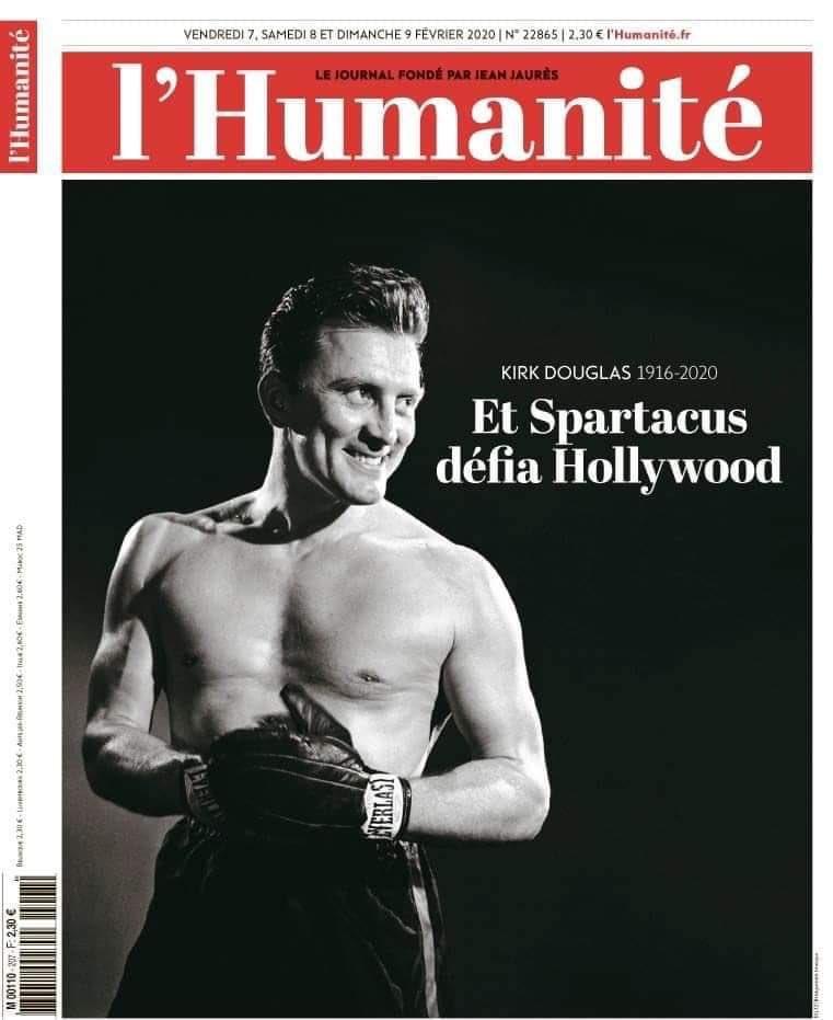 L'Humanité, couverture du n° des 7-8-9 février 2020, en hommage à Kirk Douglas.