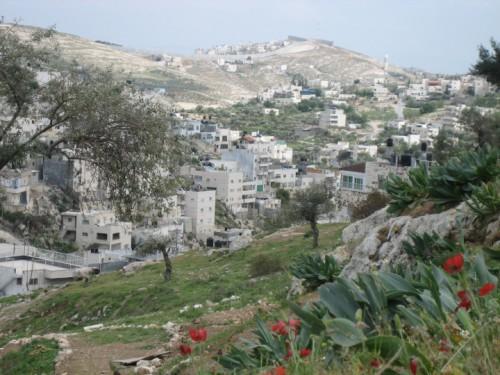 Le quartier de Silwan avec le mur de séparation en arrière-plan (2006)