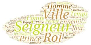 Image 5: nuage de mots à partir de l'Historia rerum in partibus transmarinis gestarum de Guillaume de Tyr (c. 1184)[5]