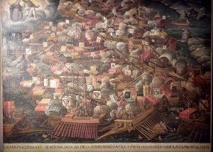 Bataille de Lépante, Vénitie, 1571-1600. Huile sur toile.