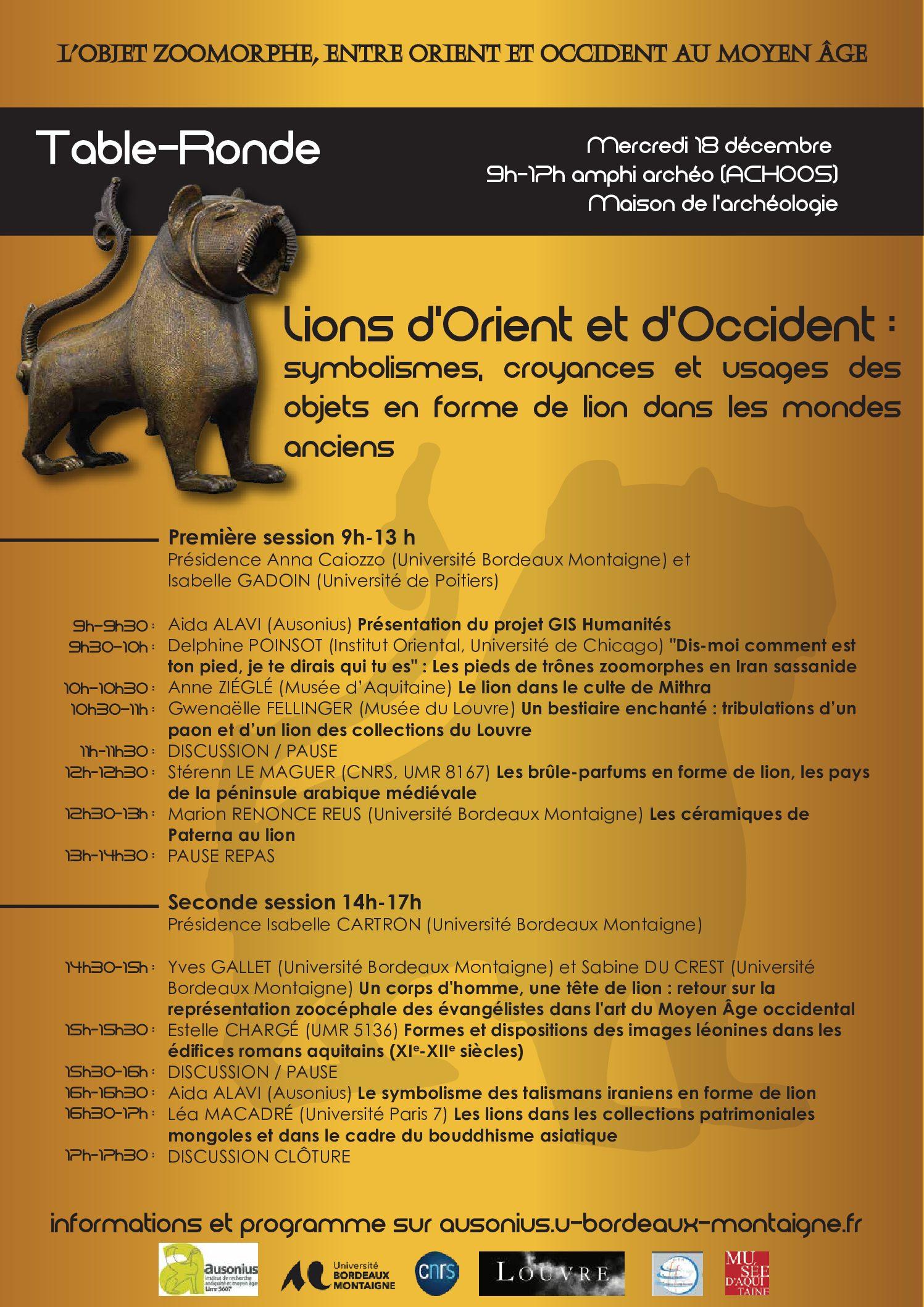 """Table-ronde : """"Lions d'Orient et d'Occident"""", Bordeaux, 18/12/2019"""