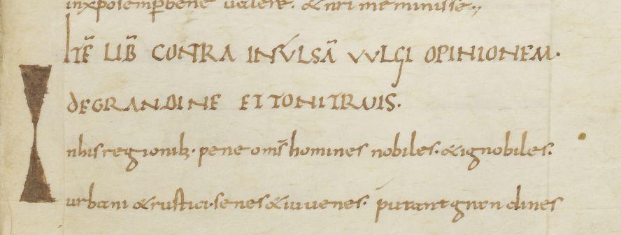 Titre et incipit du traité d'Agobard sur «La grêle et le tonnerre», dans l'unique manuscrit conservé.