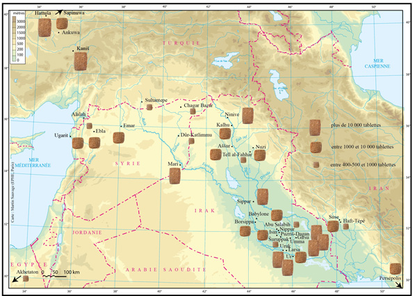 Carte du Proche-Orient ancien avec la répartition des tablettes cunéiformes exhumées à ce jour. Carte réalisée par M. Sauvage et X. Faivre.