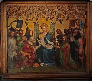 """Mittelteil des dreiteiligen Flügelaltars """"Altar der Kölner Stadtpatrone"""" von Stefan Lochner ( ca. 1445)   Kölner Dom   Public Domain"""