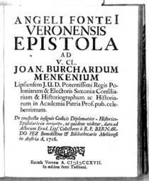 Streitschrift des Hofbibliothekars Gentilotti gegen Bernhard Pez, 1717