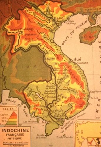 Indochine, relief, carte de 1947