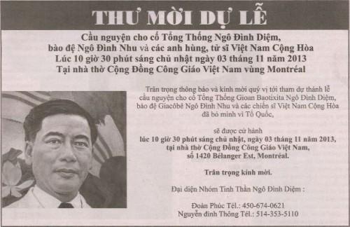 Annonce d'une cérémonie en hommage à Ngo Dinh Diem organisée à Montréal © 2013 Thoi Bao