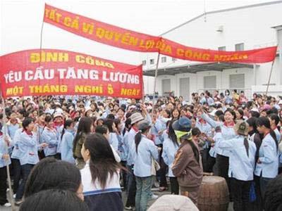 Grève ouvrière dans la zone industrielle Nomura à Haiphong en mai 2011 © Dan Tri