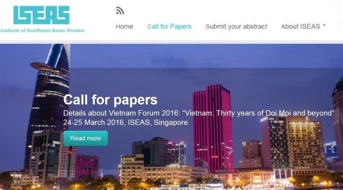 Call For Papers – Vietnam Forum 2016 [ISEAS]