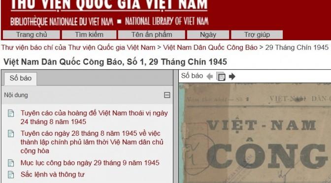 Ressources en ligne : Thư viện báo chí của Thư viện Quốc gia Việt Nam [TVQGVN]
