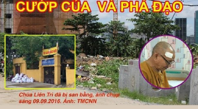 Kháng thư của các tổ chức xã hội dân sự độc lập về việc nhà cầm quyền cưỡng chế và phá hủy chùa Liên Trì