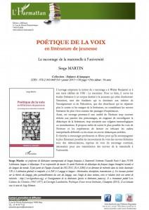 POETIQUE DE LA VOIX en litterature de jeunesse