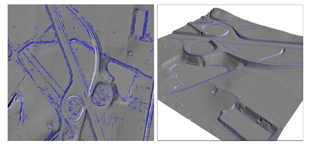 Left: Automatically detected start segments (blue) in front of a shaded relief map, plan view of a motorway junction; Right: Perspective view of the resulting automatically modelled and post-processed break lines (viewing direction: north-west); Data: River Main, German Federal Institute of Hydrology. Mandlburger et al. 2010